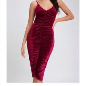 Lulu's Burgundy Velvet Bodycon Dress